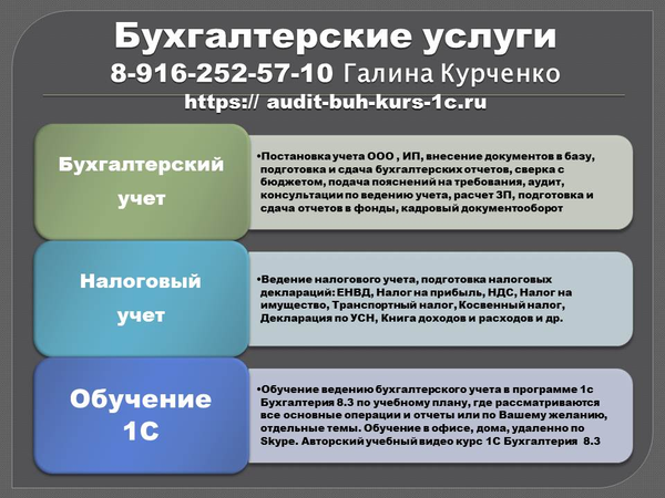 бухгалтерское сопровождение 8-916-252-57-10