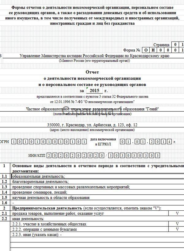 минюст форма отчета для некоммерческих организаций он0001