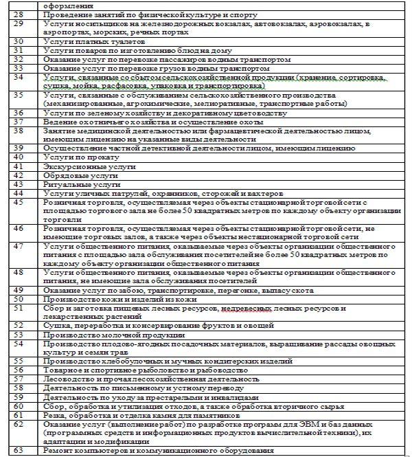 Патент, перечень видов деятельности2